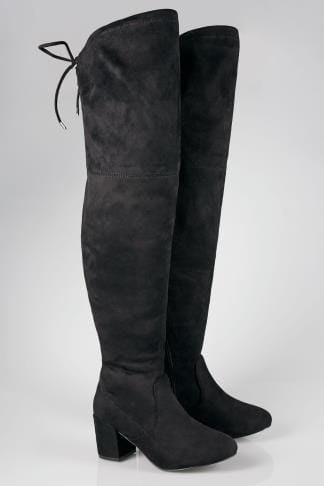 Wide Fit Boots Black Over The Knee Block Heel Boots With XL Calf Fitting In TRUE EEE Fit 154081