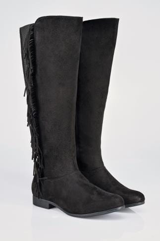 Wide Fit Knee High Boots Black Over The Knee Suedette Boots With Fringing Detail In EEE Fit 102199