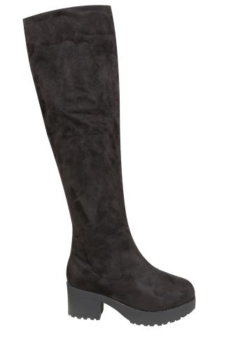 Black Over The Knee Suedette Platform Boot With Cleated Soles In EEE Fit