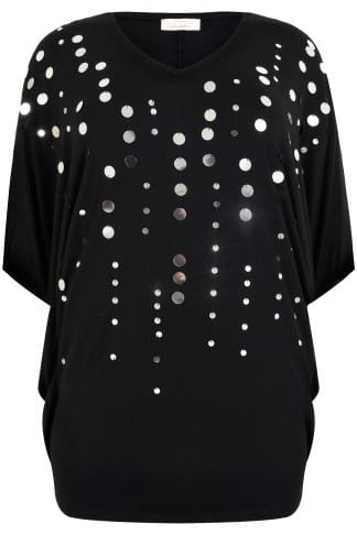 YOURS LONDON Black Oversized Jersey Cape Top With Disc Sequin Details
