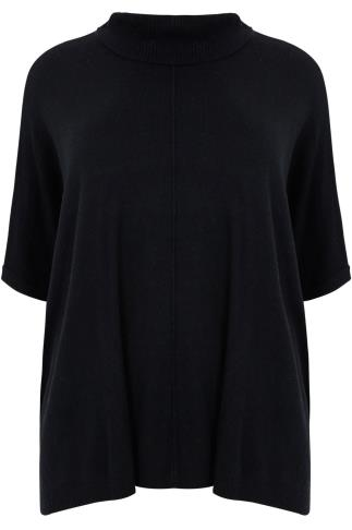 Black Oversized Knitted Slouchy Jumper With Cowl Neck