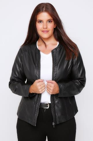 Leather Look Black PU Collarless Biker Jacket With Quilted Panels 101502
