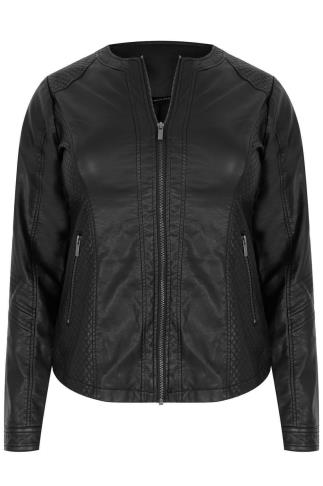 Black PU Collarless Biker Jacket With Quilted Panels