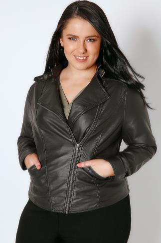 Leather Look Black PU Leather Look Biker Jacket 102750
