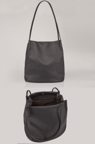 Shopper & Tote Bags Black PU Leather Look Bucket Bag With Double Handles 152081