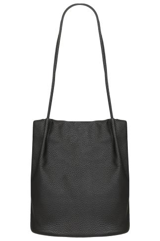 Bags & Purses Black PU Leather Look Bucket Bag With Double Handles 152081