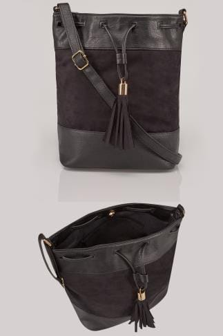 Black PU & Suede Bucket Bag With Tassel Detail