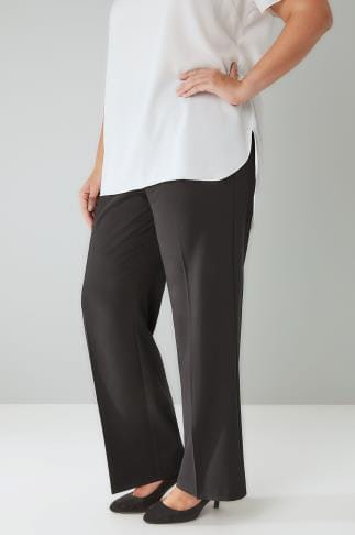Pantalons droits Black Classic Straight Leg Trousers With Elasticated Waistband - PETITE 028116