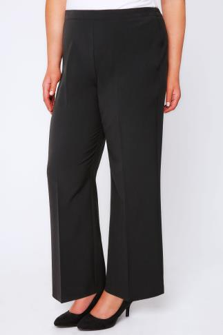 Straight Leg Trousers Black Pablo Trouser With Elasticated Back - PETITE 028116