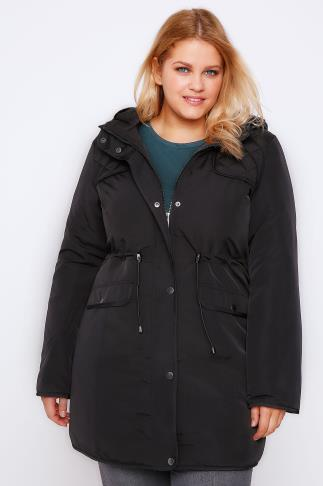 Parkas Black Padded Parka Coat With Quilted Shoulders & Hood 101495