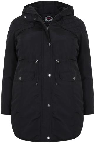 Black Padded Parka Coat With Quilted Shoulders & Hood