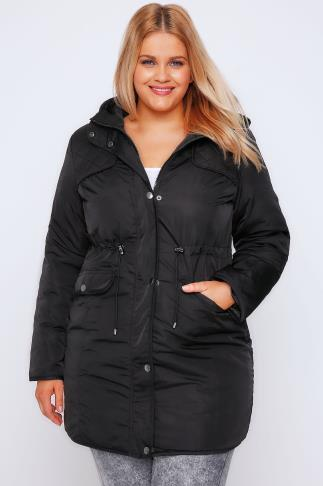 Parka Coats Black Padded Parka Coat With Quilted Shoulders & Hood 054317