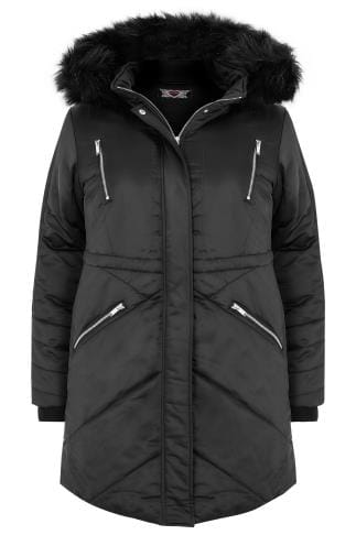 Black Padded Parka Jacket With Faux Fur Hood