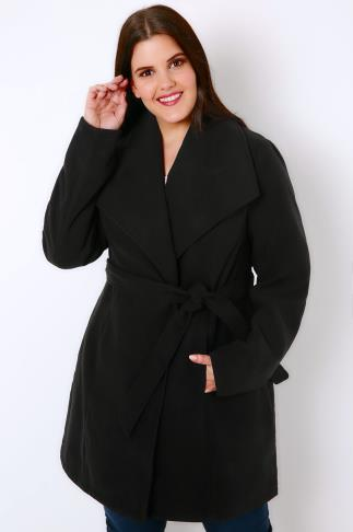 Coats Black Panelled Belted Coat 103211