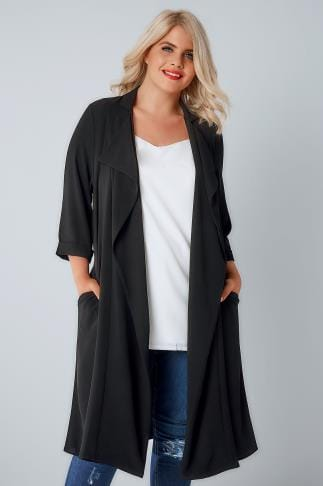 Jackets Black Panelled Duster Jacket With Waterfall Front & Half Sleeves 134163