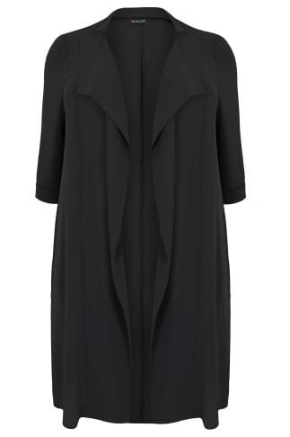 Black Panelled Duster Jacket With Waterfall Front & Half Sleeves