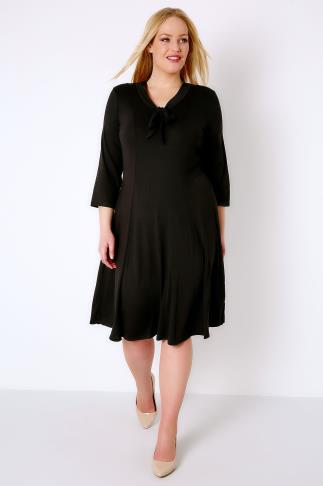 Black Panelled Midi Dress With Pussy Bow Neck Tie