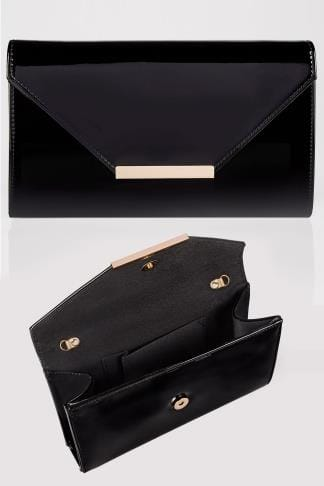 Black Patent Clutch Bag With Chain Shoulder Strap