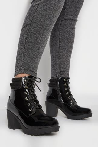022c7063bfef Black Patent Lace Up Heeled Ankle Boot In EEE Fit