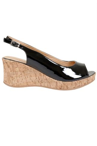 Black Patent Peep Toe Cork Wedge Sandal In A EEE Fit