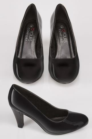 Black Patent Slip On Court Shoes With Comfort Insole In TRUE EEE Fit