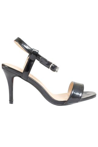 Black Patent Square Toe Heeled Sandals With Ankle Strap In EEE Fit 056467
