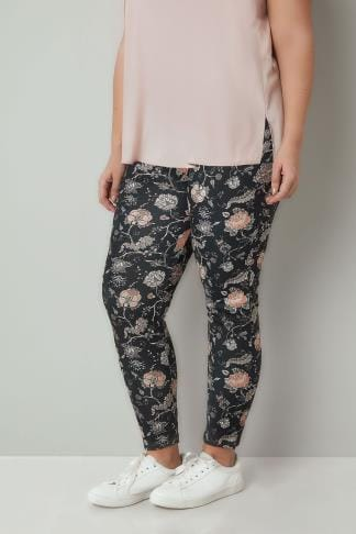 Tapered & Slim Fit Trousers Black & Peach Floral Print Slim Trousers 170384