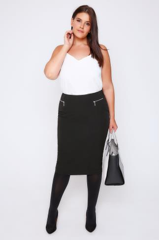 Pencil Skirts Black Pencil Midi Skirt With Silver Zip Details 101404