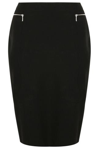Black Pencil Midi Skirt With Silver Zip Details