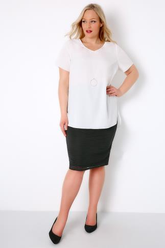 Black Pencil Skirt With Striped Mesh Overlay 170071