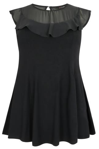 Black Peplum Jersey Top With Chiffon Frill Yoke