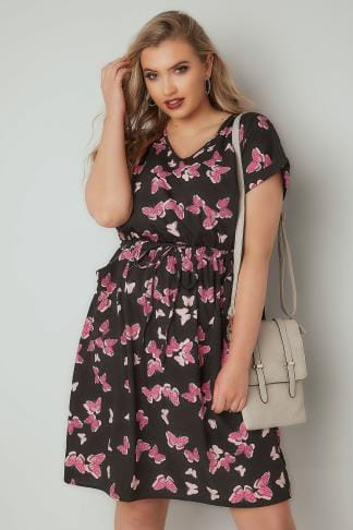 Midi Dresses Black & Pink Butterfly Print T-Shirt Dress With Pockets & Elasticated Waistband 136210