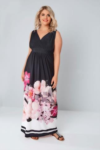 Maxi Dresses Black & Pink Floral Border Print Slinky Jersey Maxi Dress 136115