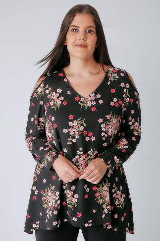 Black & Pink Floral Cold Shoulder Blouse 156116
