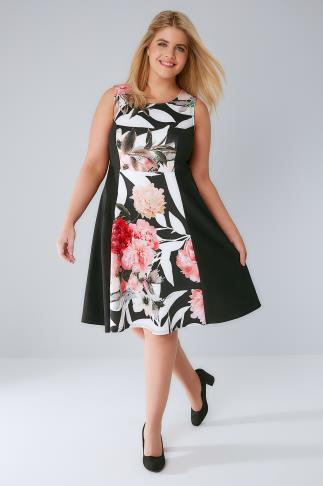 Black & Pink Floral Mono Panel Sleeveless Skater Dress 136111