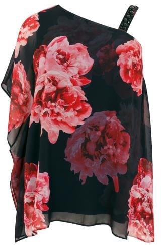 Black & Pink Floral One Shoulder Top With Embellished Details