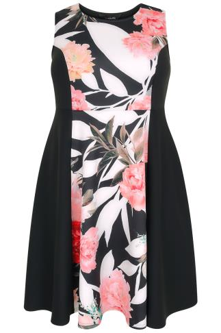 Black & Pink Floral Mono Panel Sleeveless Skater Dress
