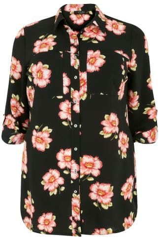 Black & Pink Floral Print Crepe Shirt With Chest Pockets 156138