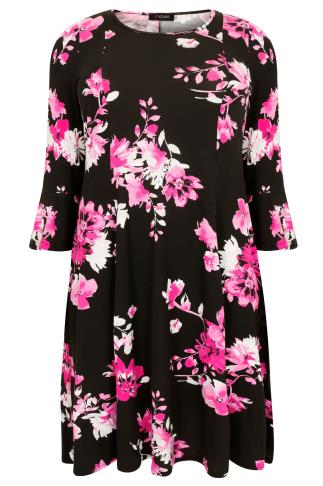 Black & Pink Floral Print Fit & Flare Jersey Dress With Flute Sleeves