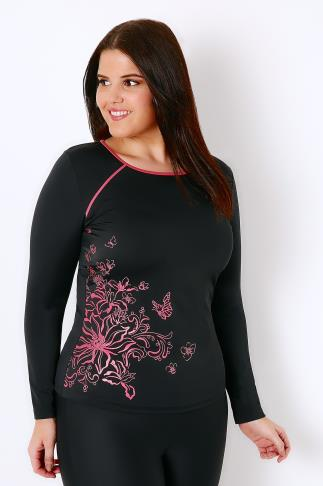 Black & Pink Floral Print Long Sleeve Swim Top 101491