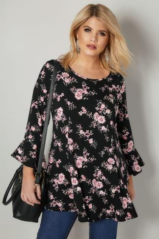 Smart Jersey Tops Black & Pink Floral Print Longline Peplum Top With Flute Sleeves 134304