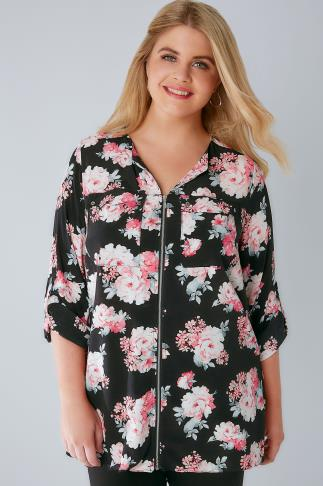 Black & Pink Floral Zip Front Blouse With Roll Up Sleeves & Pockets 156131