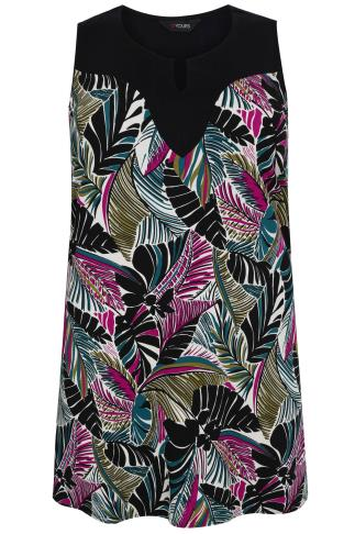 Black, Pink & Green Tropical Leaf Print Longline Top