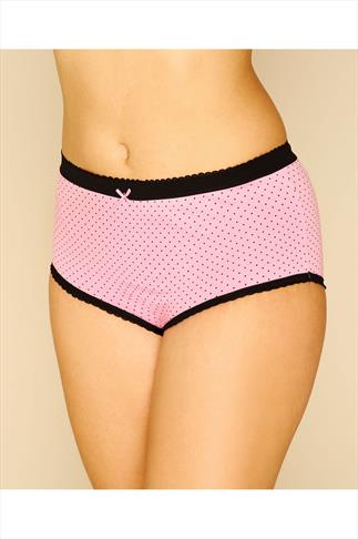 5 PACK Black, Pink, Mint & Teal Printed & Plain Full Briefs 056102