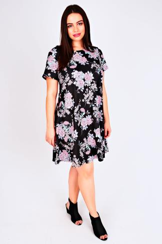 Black & Pink Oriental Floral Print Swing Dress