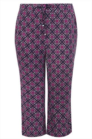 Black & Pink Printed Cropped Trousers With Draw String Waist