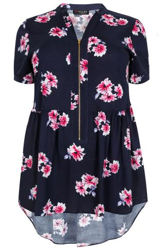 Navy, Pink & Purple Floral Print Longline Top With Ruched Waist & Zip Front