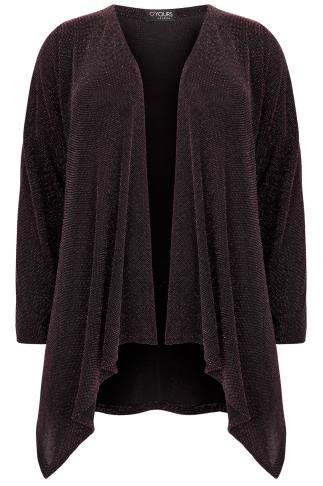 Black & Pink Sparkle Waterfall Cardigan