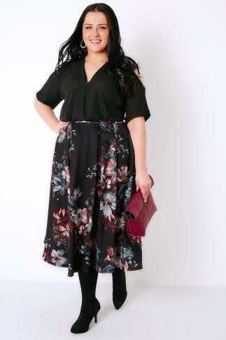 Black, Pink & Teal Floral Print Flared Midi Prom Skirt 160002
