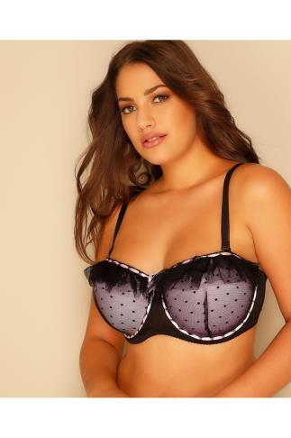 Multiway & Strapless Bras Black & Pink Underwired Multiway Bra With Frill Detail And Removable Straps 101414